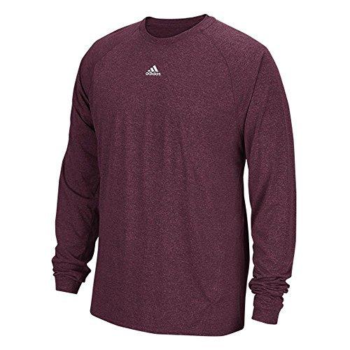 Adidas Climalite Mens Long Sleeve Training Tee L Maroon Heathered