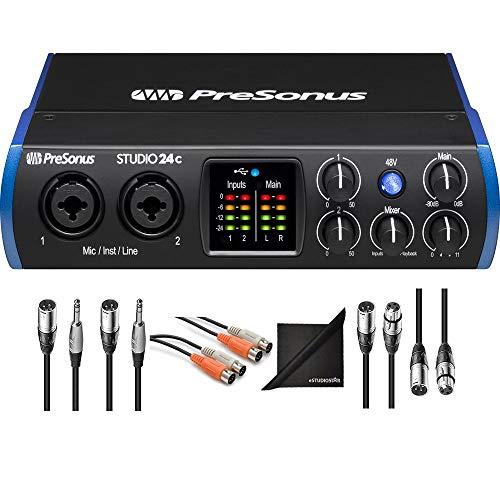 - PreSonus Studio 24c 2x2 USB Type-C Audio MIDI Interface w/AxcessAbles Audio Cables and eStudioStar Polishing Cloth