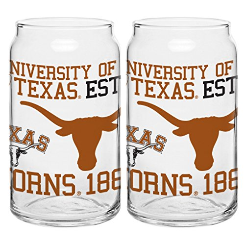 NCAA Texas Longhorns Spirit Glass Can, 16-ounce, 2-Pack