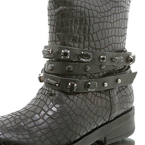 Felmini 9845 Sprit Croc Stripes+Calf black Damen Stiefelette