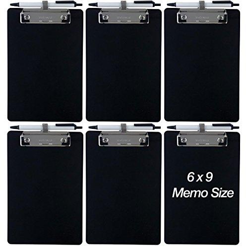 Plastic Memo Holder - Trade Quest Small Memo Clipboard 6'' x 9'' Pen Holder Clip Plastic (Black) (Pen Included) (Pack of 6)