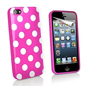 Guilty Gadgets - Pink Polka Dots Flexible Rubber Gel Case Cover For Apple Iphone5 Iphone 5 5g
