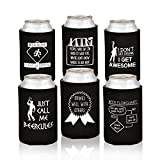 funny beer cooler - Funny Beer Can Coolers - 6 Pack Party Favor Drink Coolies - Gift for Men, Bachelor/ Stag Parties - Novelty Beverage Insulators with Clever Jokes and Sayings for Beer Drinking Man