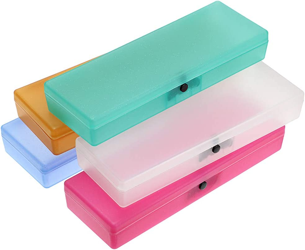 BTSKY 5 Pack Colorful Pencil Case Plastic Stationery Box Large Capacity Storage Case Pen Organizer with Hinged Lid and Snap Closure for Office//Home
