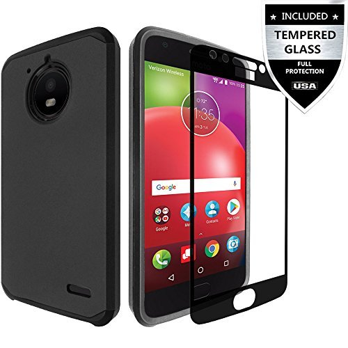 IDEA LINE Moto E6 Case/Moto E4 Case with Tempered Glass Screen Protector, Heavy Duty Protection Hybrid Hard Shockproof Slim Fit Cover - Black