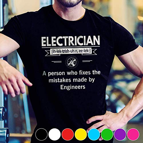 Electrician Electrician Definition a person who fixes the mistakes made by engineers T Shirt Long Sleeve Sweatshirt Hoodie Youth