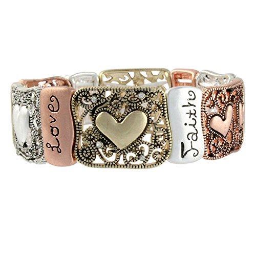 Heirloom Finds Triple Tone Faith Hope Love Heart Filigree Stretch Bracelet