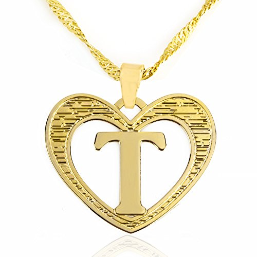 Beautiful Initial Heart Pendant Necklace 24k Gold Plated Personalized Charm Choose Your Letter (T) - Initial Heart Charm Letter