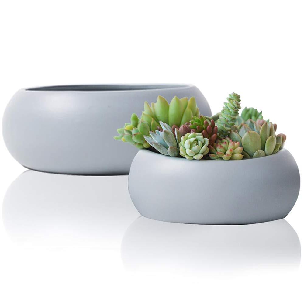 Succulent Pots Planter Set2, Grey Ceramic Cactus Container, 10.6'' Large Garden Indoor Flower Bowl