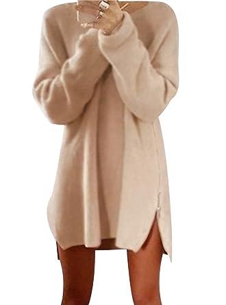 new arrival 053db 583c7 ISSHE Strickpullover Damen Oversize Lange Pullover Strick Kleid Strickkleid  Frauen Longpullover Winterpullover Rundhalspullover Winterpulli ...