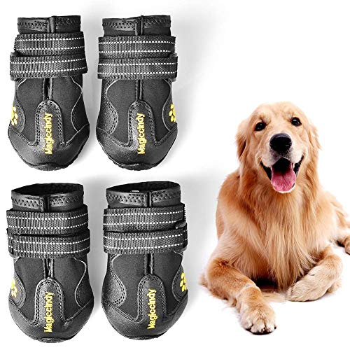 Wear Ruff Booties Dog - WUXIAN Waterproof Dog Shoes,Dog Outdoor Shoes, Running Shoes for Dogs,Pet Rain Boots, Labrador Husky Shoes for Medium to Large Dogs,Rugged Anti-Slip Sole and Skid-Proof-Size4