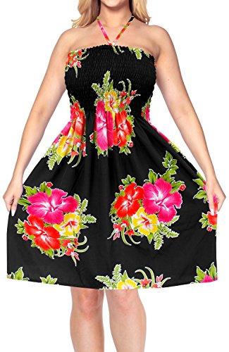 LA LEELA Soft  Printed Casual Luau Boho Short Tube Tube Dress  Pink 851 One -
