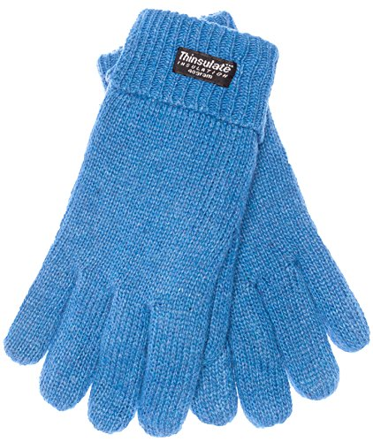 EEM ladies knitted glove JETTE with Thinsulate thermal lining, warm, 100% wool, winter, light blue - Womens Thinsulate Thermal