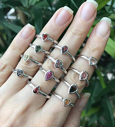 - Tourmaline Multi Color Stackable Dainty Rings