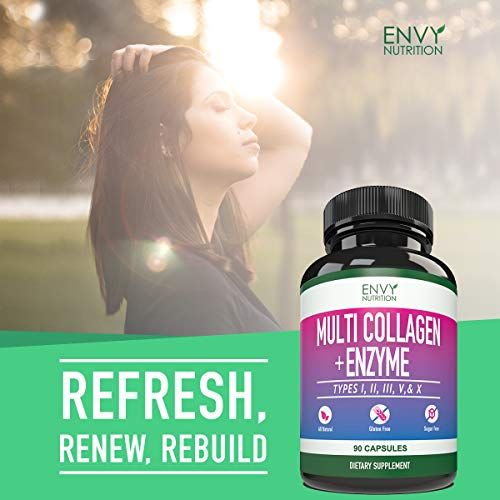 51DC7Yru8gL - Multi-Collagen + Enzyme Capsules (Types I, II, III, V and X) - Collagen peptides Supplement for Skin, Joints, Heart, Muscle, Bone and Healthy Digestion - 90 Collagen Capsules.