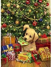 Yeerum 5D Christmas Diamant Schilderij Kit Kerstboom Hond Kit, Kerstmis DIY Diamant Painting Animal Art Kit Kruissteek Strass Kit Woondecoratie Ambachten 30x40cm