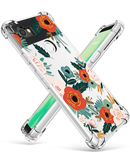 GVIEWIN Compatible for Google Pixel 2 XL Case, Flower Pattern Design with Shockproof Corner, Ultra Slim TPU Bumper Protective Cover Case(Flowering/Reseda Green)