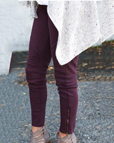 Casual Avec Vin Leggings Pants Slim Zipper Skinny Jeans Pantalons Rouge Femme Jeggings Crayon Stretch 70xqw5WvC