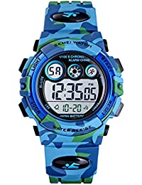 Watches for Boys Kids Waterproof Sports Digital Watches Colorful LED Display with Multi Function (Light Blue)