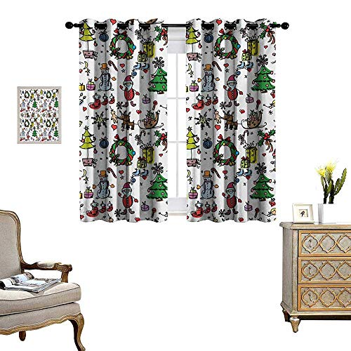 Doodle Window Curtain Drape Christmas Concepts Drawn in Cartoon Style Santa Snowman Children Presents Mistletoe Decorative Curtains for Living Room W55 x L39 Multicolor
