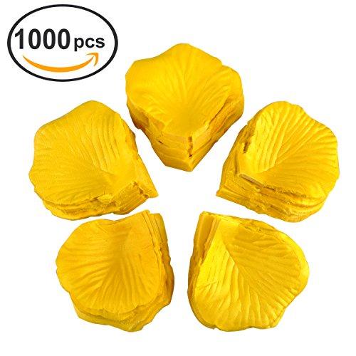 eZAKKA Silk Rose Petals For Wedding And Celebrations Confetti,1000-Pack (Yellow)