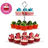 NeoBee 3-Tier Square layered Party Cake Stands with Silver Handle, With stainless steel screw connection, Cupcake rack, Food display stands (Every two layers spacing 4 inches,10x10x12inches)