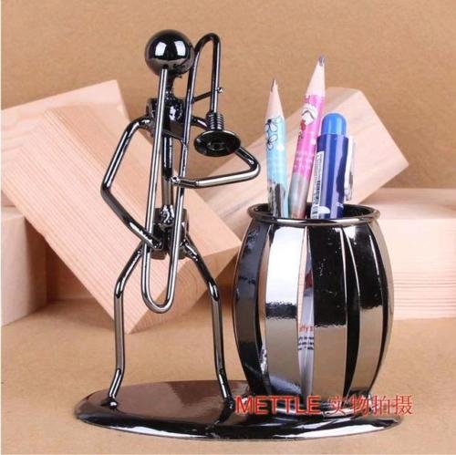 XENO-Handmade Metal Trombone Pencil Holder Pen Container Desk Organizer Home ()