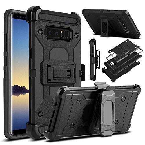 Galaxy Note 8 Case, Venoro Heavy Duty Armor Shockproof Rugged Protection Case Cover with Belt Swivel Clip and Kickstand for Samsung Galaxy Note 8 6.3 2017 Release (Black)