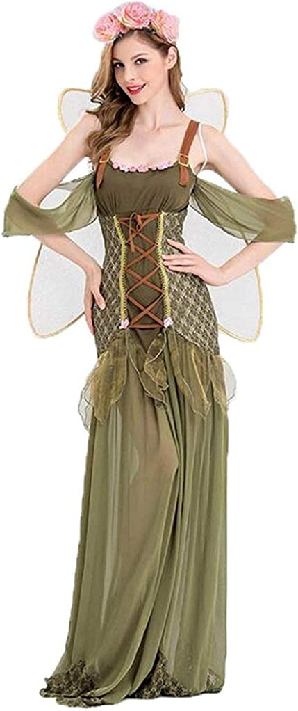 New Angel Flower Fairy Dress, Most Popular Classic Cosplay Costumes Women Green Forest Princess