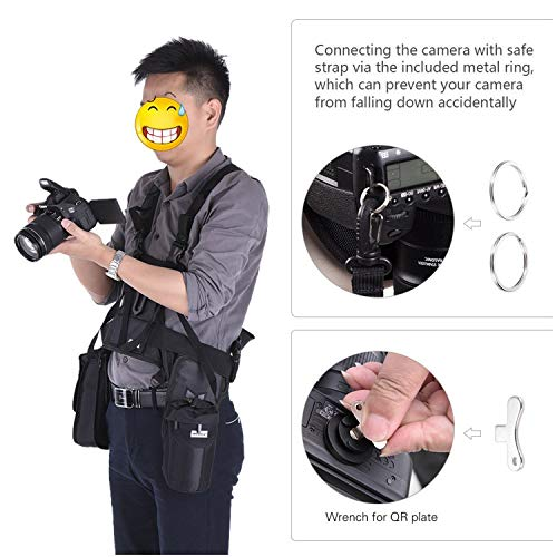 Triple Camera Harness, Micnova Carrying Chest Vest System with Side Holster for Smartphone Lens Canon Nikon Sony DV DSLR Camcorder Tripod Stand Wedding Journalism YouTube Vlog Livestream by Micnova (Image #2)