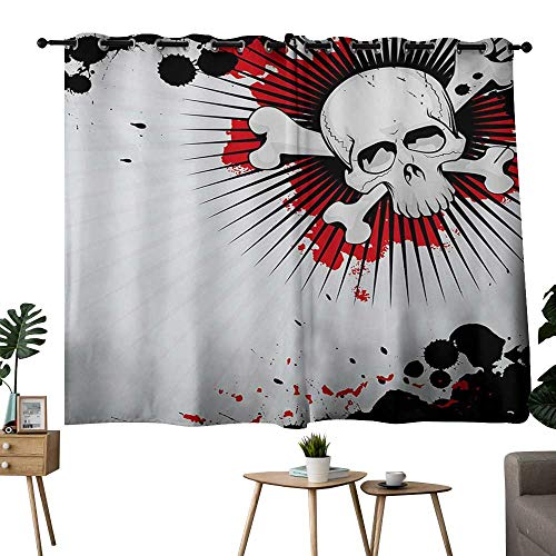 NUOMANAN Customized Curtains Halloween,Skull with Crossed Bones Over Grunge Background Evil Scary Horror Graphic,Pearl Red Black,Thermal Insulated Room Darkening Window Shade 42