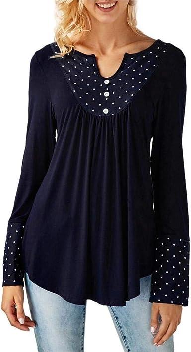 Blusa Mujer Camisas De Manga Larga Mujer Top V Puntos Cuello Botón Casuales Mujeres Blusas Moda Negro Azul Rojo: Amazon.es: Ropa y accesorios