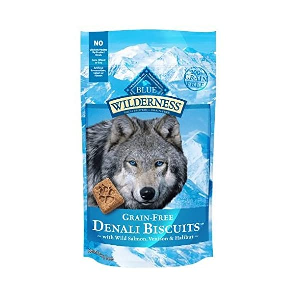 Blue Buffalo Wilderness Denali Biscuits Grain Free Dog Treats USA Made Salmon Venison Halibut