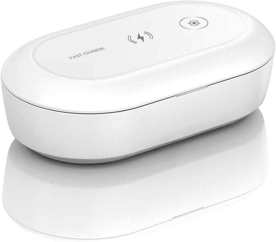 ELUTO Caja de Esterilizador UV Desinfectante de UV Portátil Cargador Nalámbrico Limpiador de Teléfono Caja de Desinfección para Teléfono Cepillo y Accesorios