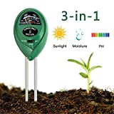 Enviroment Soil Meter, 3-in-1 Soil Test Kit for Rapitest Plant PH Moisture Sensor Meter Light with Garden Indoor or Outdoor Various Plants Care-No Battery Needed
