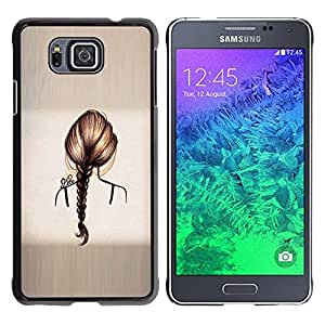 iKiki Tech / Estuche rígido - Hair Grey Ponytail Brushed Metal - Samsung GALAXY ALPHA G850