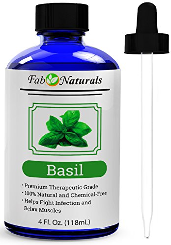 Basil Essential Oil, Large 4 Oz, 100% Pure Sweet Basil Oil, for Diffuser, Hair, Aromatherapy, Therapeutic Grade. by Fab Naturals
