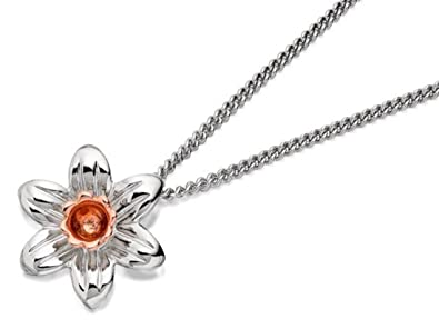 89630a0f2 Clogau Womens Jewellery Jewelry Silver And 9ct Rose Gold Daffodil Pendant  And Chain: Amazon.co.uk: Jewellery