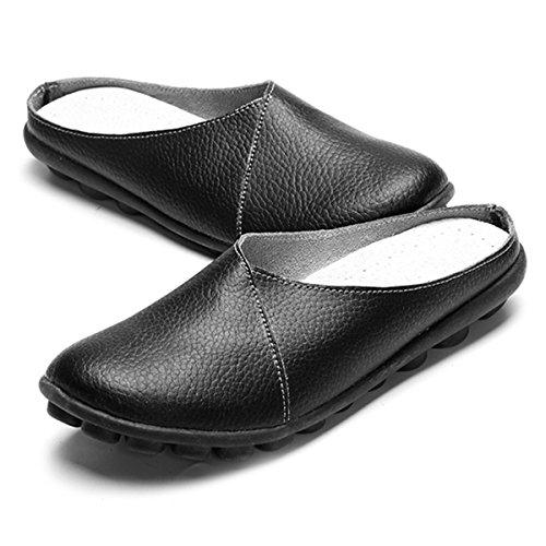 Damas Zapatos Zapatillas barco Cabeza Oficina gracosy de cuero transpirable planos caminar Negro conducción Mocasines Mocasines Antideslizante cordones Sandalias Zapatos Inicio trabajo de Mujeres sin Malla para de de Zapatos redonda EFTBOqndW