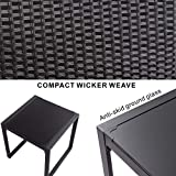 SUNLEI Outdoor 3-Piece Bistro Set Black Wicker