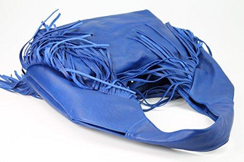 Belli® Bellissima B Italia Shopper In Nappa Fransen Bag Royal Blue - 34x23 (centro) X17 Cm (lxhxp)