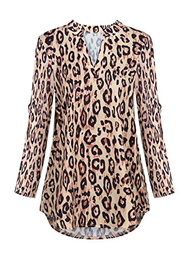 Leopard Print Silk Dress (roswear Women's Casual V Neck Cuffed Sleeves Solid Chiffon Blouse Top Leopard Print Small)