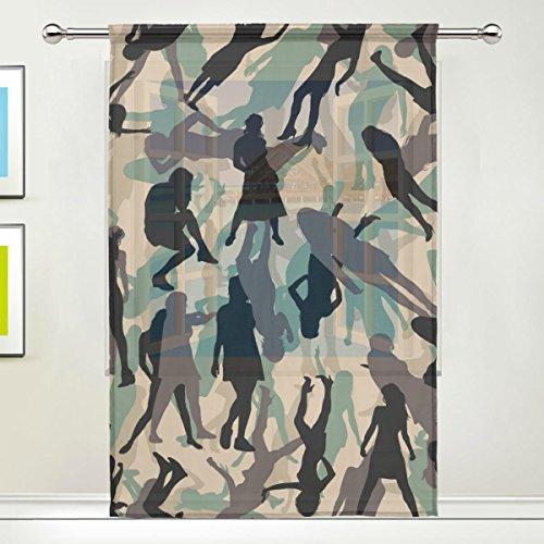 Camo People Print Tulle Voile Door Window Room Sheer Curtain Drape 1 Panel Scarf Valances Wide Width Gauze Curtain for Bedroom Single panel 55x78 inch]()