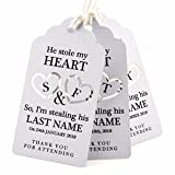 Summer-Ray 50pcs White Personalized Mini Royale He Stole My Heart So I'm Stealing His Last Name Wedding Favor Gift Tags