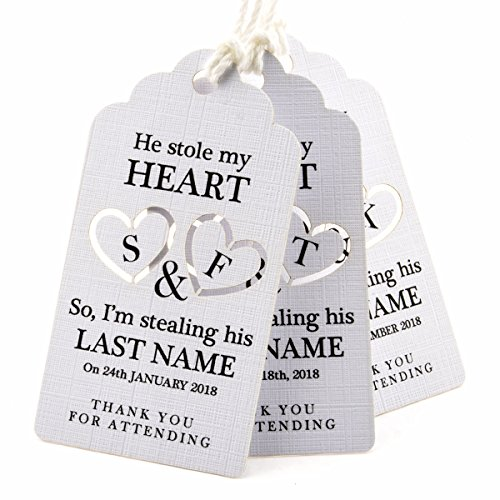 Summer-Ray 50pcs White Personalized Mini Royale He Stole My Heart So I'm Stealing His Last Name Wedding Favor Gift Tags by Summer-Ray.com