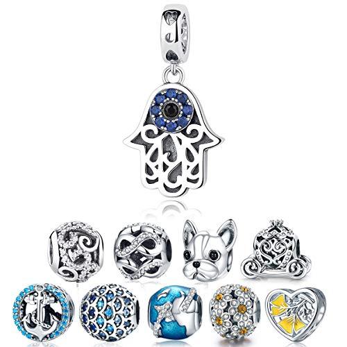 (WOSTU Genuine 925 Sterling Silver Hamsa Hand Evil Eye Dangle Charms fit Charm Bracelets Pendant Necklace)