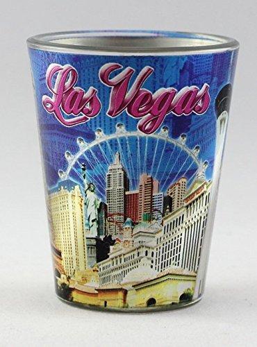 Las Vegas Nevada Blue Metallic Skyline Collage shot glass