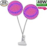 40W Plant Grow Light with 400 LED Bulbs - Dual Head Indoor Plants Growing Light Lamp with 360º Adjustable Gooseneck - Use For Indoor Hydroponic Greenhouse Gardening