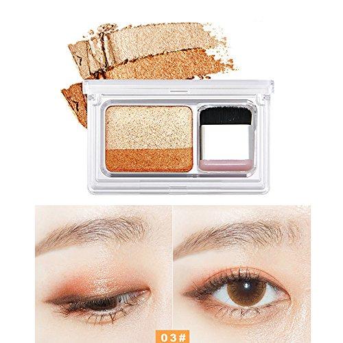(GoodLock Hot!! 2 Colors Lasting Eyeshadow Shimmer Stamp Waterproof Eyeliner Eye Shadow Makeup Powder Smoky Pearl Matte Blush Cosmetic Palette Plate Concealer Creamy Natural Colorful Durable (C))