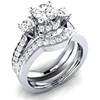 Women fashion jewelry 925 silver white Sapphire wedding ring Set size 6-10#by pimchanok shop (10)